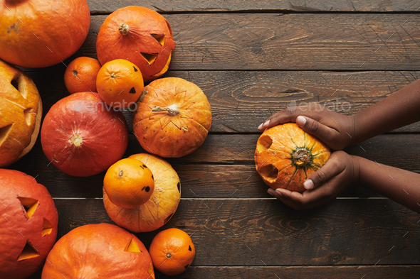 Woman Holding Pumpkin Flat Lay - Stock Photo - Images