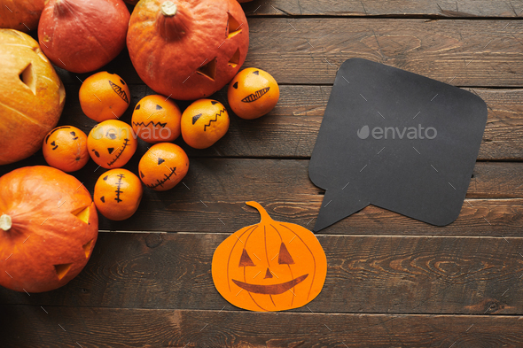 Halloween Flat Lay With Quote Box - Stock Photo - Images