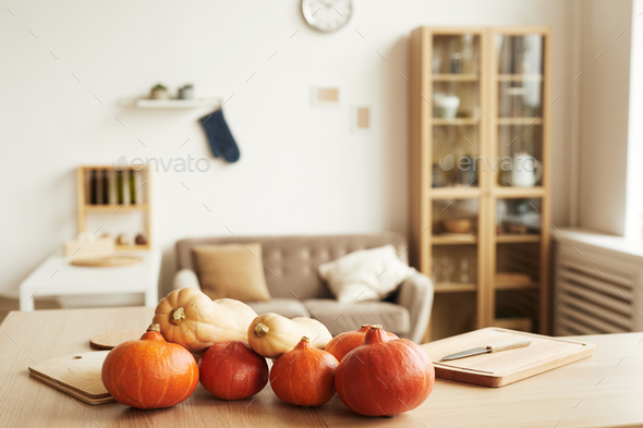 Fresh Pumpkins On Table At Home - Stock Photo - Images