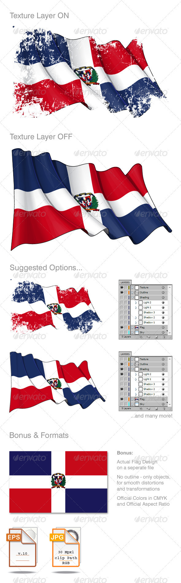 Dominican Republic Flag Grunge - Backgrounds Decorative