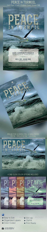 Peace Turmoil Flyer Bulletin Cover Template - Church Flyers