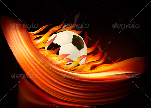 Fire football background with a soccer ball   - Sports/Activity Conceptual