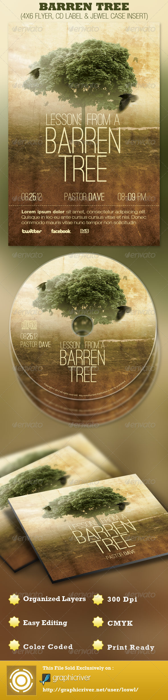 Barren Tree Church Flyer and CD Template - Church Flyers