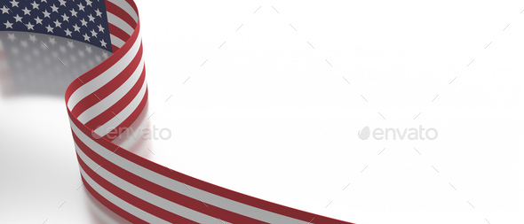 USA flag flyer on white background, copy space, card template. 3d illustration - Stock Photo - Images