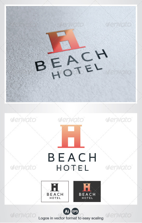 Beach Hotel H Letter Logo - Letters Logo Templates