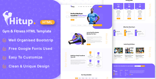 Hitup - Fitness and Gym HTML Template