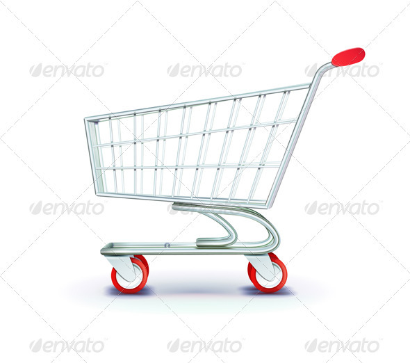 Supermarket Shopping Cart - Objects Vectors