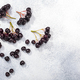 Black chokeberry (Aronia melanocarpa) berries atop grey textured backdrop w/ copy space,  top view - PhotoDune Item for Sale