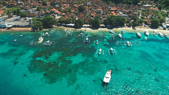 Aerial Flight over Crystal Ocean Harbor Bay - Stock Photo - Images