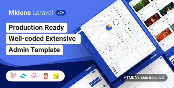 Midone - Laravel 8 Admin Dashboard Template + HTML Version