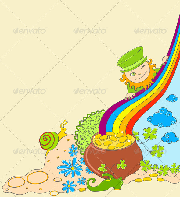 St Patrick's Day Background with Leprechaun - Miscellaneous Seasons/Holidays