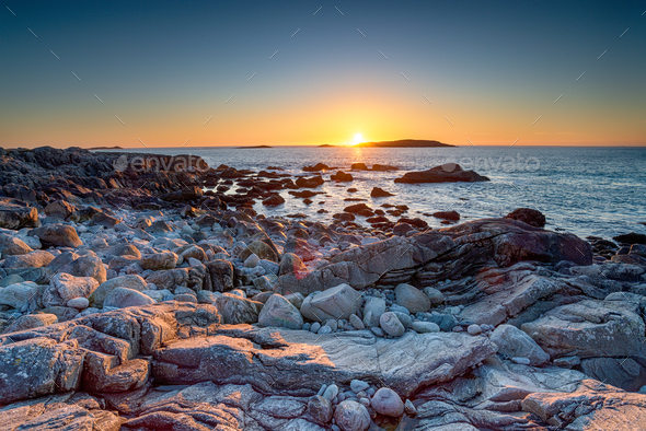Clear sky sunset over the beach at Mealista - Stock Photo - Images