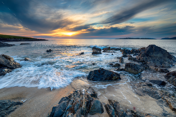 Beautiful stormy sunset at Bagh Steinigidh beach - Stock Photo - Images