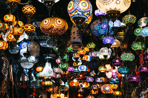Moroccan or Turkish mosaic lamps and lanterns background; selective focus - Stock Photo - Images