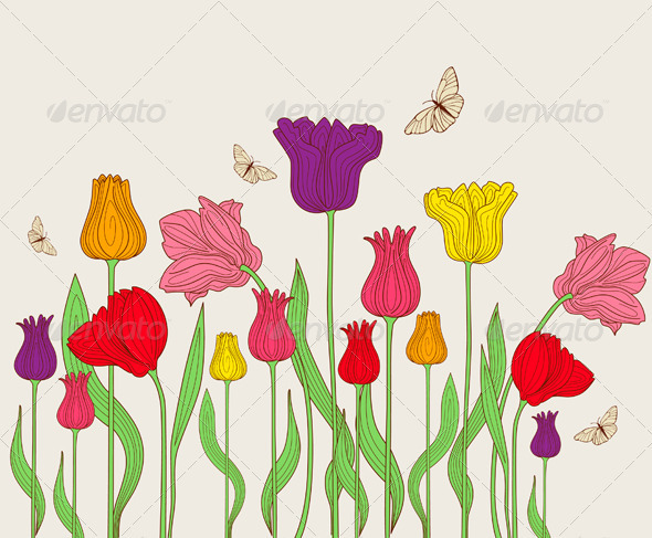 Floral Background with Tulips - Flowers & Plants Nature