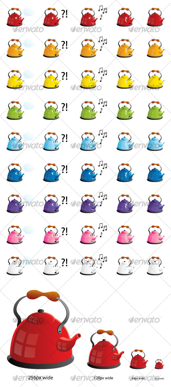 Colorful Teapots in Four Moods Icon Set - Miscellaneous Characters