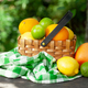 Variuos citrus fruits in basket on garden table - PhotoDune Item for Sale