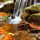 Beautiful landscape with a waterfall in the autumn forest - PhotoDune Item for Sale