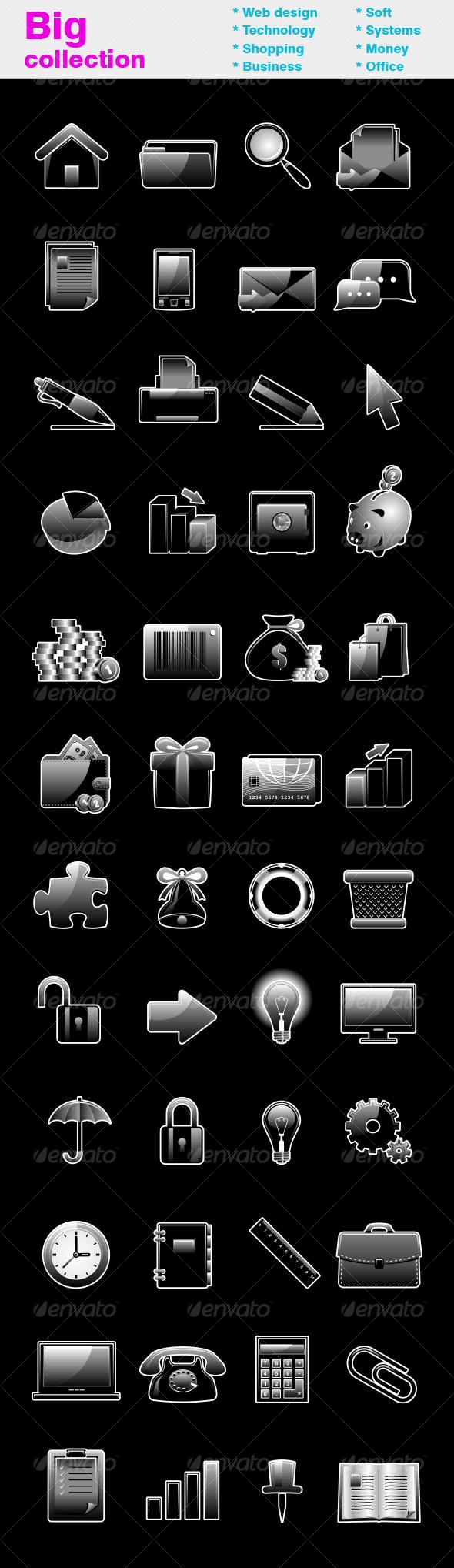 Black glossy icon set - Web Icons