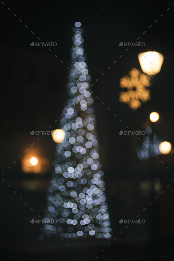 Christmas tree bokeh light - Stock Photo - Images