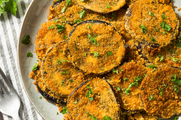 Homemade Breaded Baked Eggplant - Stock Photo - Images