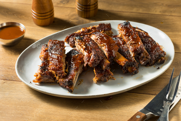 Homemade Smoked St Louis Style Spare Ribs - Stock Photo - Images