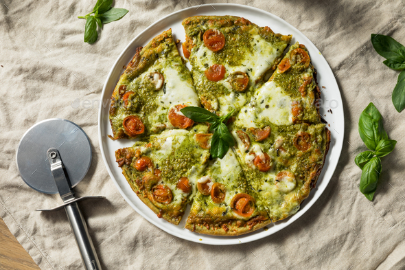 Homemade Green Pesto Pizza - Stock Photo - Images
