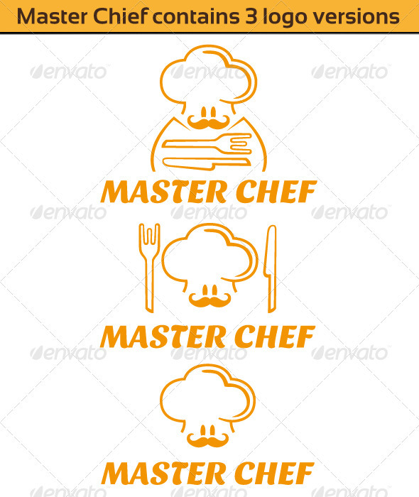Master Chief Logo (Contains 3 version) - Food Logo Templates