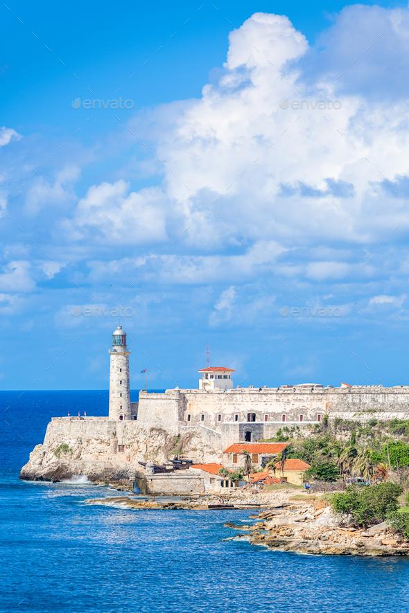 Havana, Cuba light house of La Cabana Fort - Stock Photo - Images