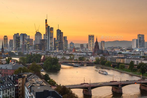 Frankfurt, Germany skyline over the Main River - Stock Photo - Images