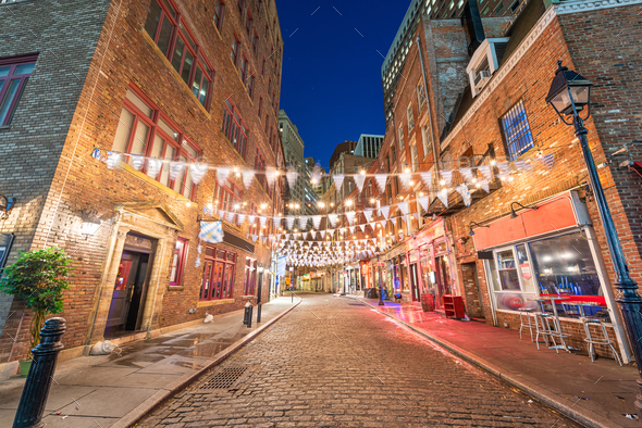 Stone Street in New York City, USA. - Stock Photo - Images