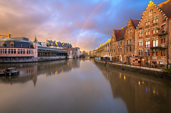 Ghent, Belgium at the Graslei - Stock Photo - Images