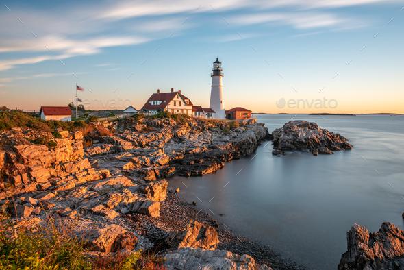 Portland, Maine, USA at Portland Head Light - Stock Photo - Images
