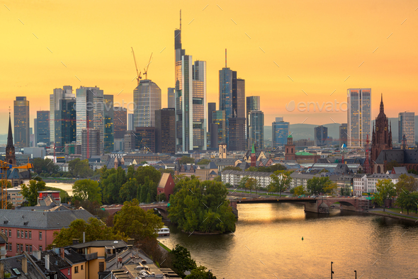 Frankfurt, Germany skyline over the Main River - Stock Photo - Images