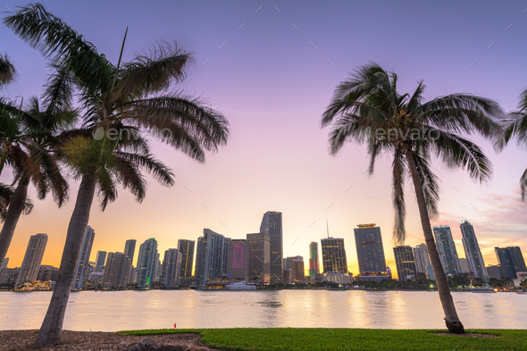 Miami, Florida, USA Downtown Skyline on the Bay - Stock Photo - Images