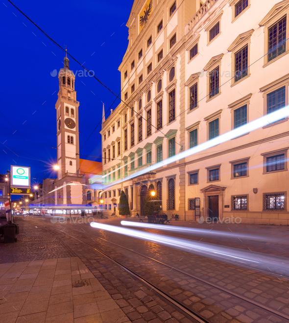 Augsburg, Germany at Rathausplatz - Stock Photo - Images