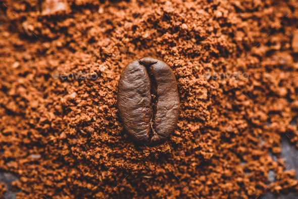 Coffee bean on heap of ground coffee - Stock Photo - Images