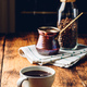 Cup of black coffee on wooden table - PhotoDune Item for Sale