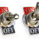 Retro toggle switch ON OFF isolated on white background. - PhotoDune Item for Sale