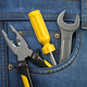 Tools in jeans pocket. Service and engineering concept. - PhotoDune Item for Sale