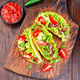 Taco with ground beef meat, mashed avocado, tomato, square, top view - PhotoDune Item for Sale