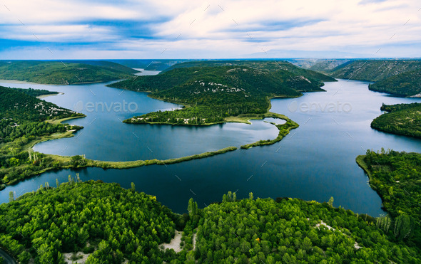 Aerial view of blue lakes and green forest. Krka river national park, Croatia - Stock Photo - Images