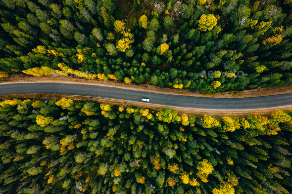 Aerial view of curve road and colorful autumn forest in Finland. - Stock Photo - Images