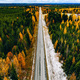 Aerial view of rural road with first snow in yellow and orange autumn forest - PhotoDune Item for Sale
