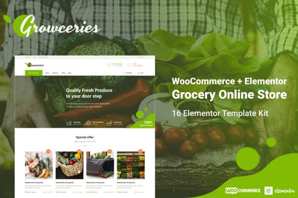Growceries - Food & Grocery Store Elementor Template Kit