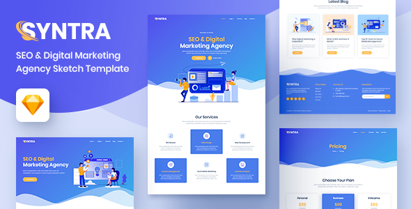 SYNTRA – SEO & Digital Marketing Agency Sketch Template