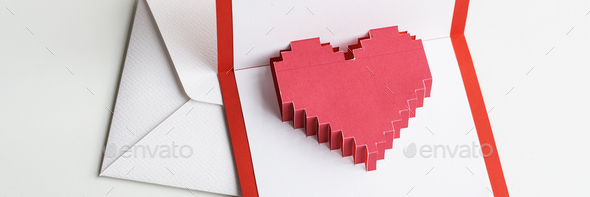 Pixelated heart in an envelope - Stock Photo - Images