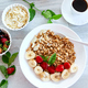 Healthy breakfast bowl, fresh granola, fruits and coffee. - PhotoDune Item for Sale