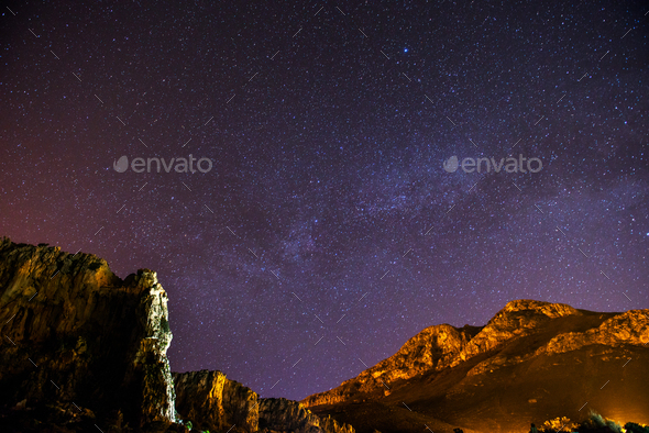 The starry sky above rocky dolomite - Stock Photo - Images