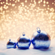 Blue Christmas balls on snow. Glitter lights - PhotoDune Item for Sale